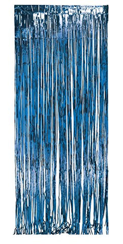 Creative Converting 141006 Foil Fringe Door Party Curtain, 3 x 8', Blue
