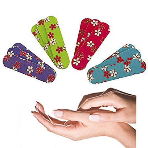 Adorox Mini Emery Boards Nail Manicure & Pedicure File Floral Hawaiian (Purple, Green, Pink, Blue)