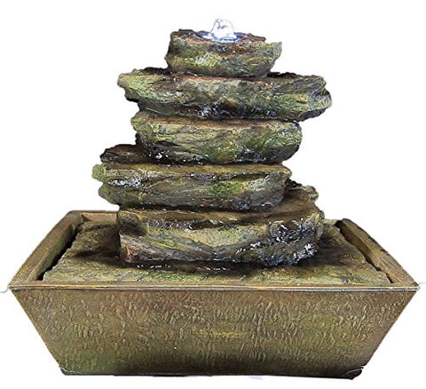 Sunnydaze Cascading Rocks Tabletop Fountain with LED Lighting