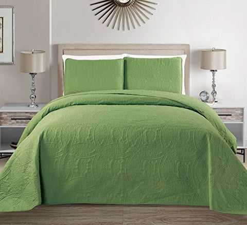 Mk Collection 3 pc Solid Embossed Bedspread Bed-cover Over size Sage Green New Full/Queen Over Size 100 x106