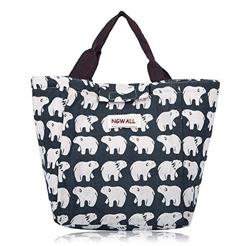 NGWALL-Cute Reusable Cotton Warmer Lunch Bag Insulated Lunch Handbag Waterproof Lunch Box Soft Bento Cooling Bag (Polar bear).