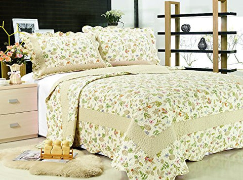 All for You 3-piece Reversible Bedspread/ Coverlet / Quilt Set-orange, pink, purple, blue flowers and sage green leaves prints-Larger king size with king size pillow shams
