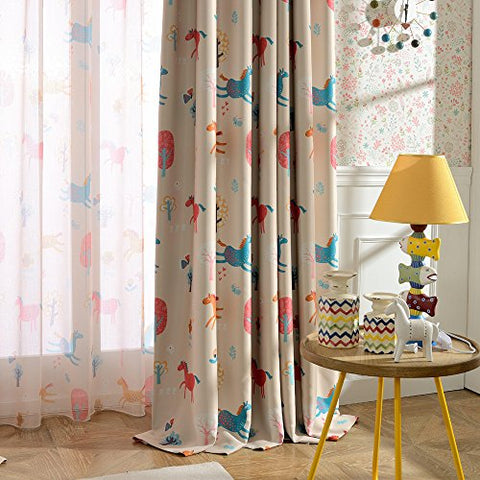 Melodieux Cartoon Pony Room Darkening Blackout Grommet Top Curtains/Drapes for Kids Room, 52 Wx63 L (1 Panel)