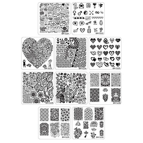 Bundle Monster 10pc Occasions Nail Art Stamping Plates: Chinese New Years - Valentine's Day - Spring