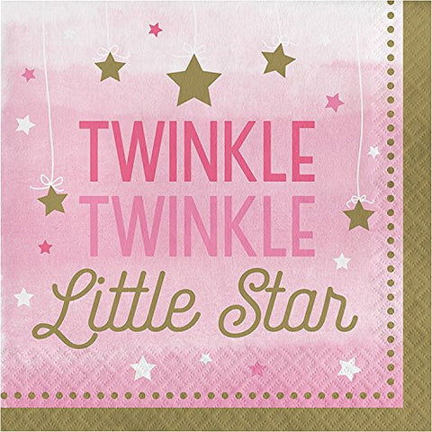 One Little Star Girl - Twinkle Luncheon Napkins (Party Pack: 48 Count)
