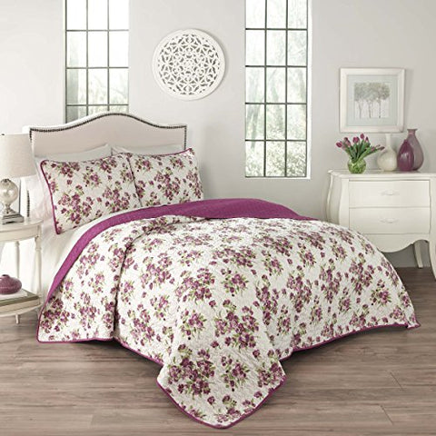 Traditions by Waverly 15280BEDDQUEVIO Primrose 90-Inch by 90-Inch 3-Piece Queen Quilt Collection, Violet