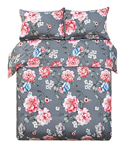 Word of Dream Luxuriously Soft Brushed Microfiber Floral Print 3PC Duvet Cover Set , Full/Queen