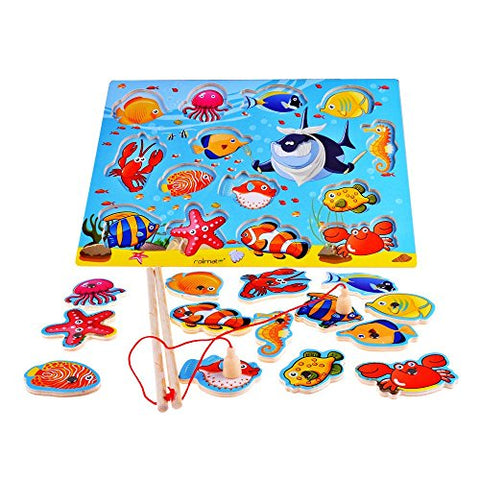 Rolimate 14-Piece Fishes Basic Educational Development Wooden Magnetic Bath Fishing Travel Table Game, Birthday Gift Toy for age 3 4 5 Year Old Kid Children Baby Toddler Boy Girl Magnet Toy