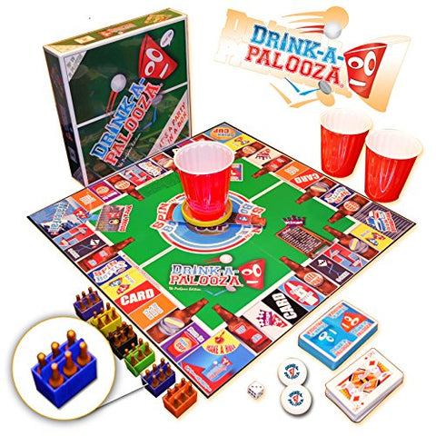 DRINK-A-PALOOZA Board Game: combines old-school + new-school drinking games & adult games featuring Beer Pong, Flip Cup, Kings card game & all the best party games for adults