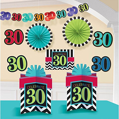Must-Have Chevron and Stripes 30th Birthday Party Assorted Room Decorating Kit , Multi , 10.5 X 2.6 paper