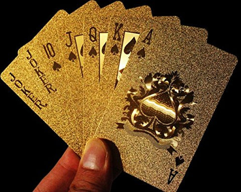 Cindy&Will 1Pcs 24K Gold Foil Waterproof Pure Golden Pattern Poker Playing Card with Black Storage Bag