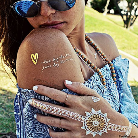 Flash Tattoos Wanderlust Authentic Metallic Temporary Tattoos 3 sheet Pack (Gold/silver/white) - Includes Over 28 Premium Waterproof Tattoos