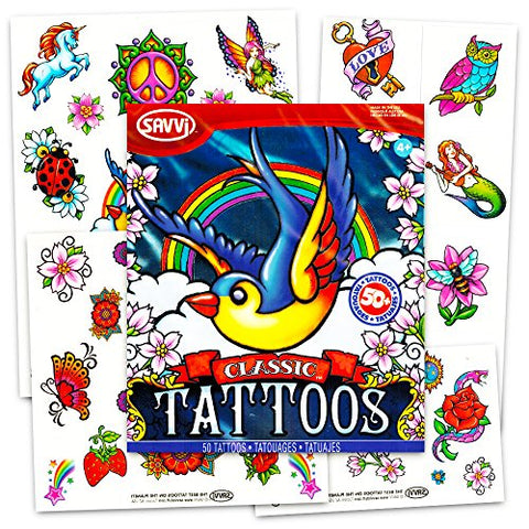 Savvi Set of 50 Temporary Tattoos, Classic