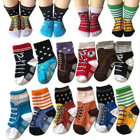 Todder 6 Pairs Non Sikd Shoe Socks Infant Baby Boy Anti Slip Cotton Cozy Ankle Low Cut Footsocks Sneakers Crew Walker Socks With Grips For 12-24 Months Kakalu