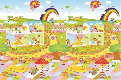 MyLine baby indoor/outdoor playmat (78.7''x70.9x1/5'') (Bear Day/Train ABC)