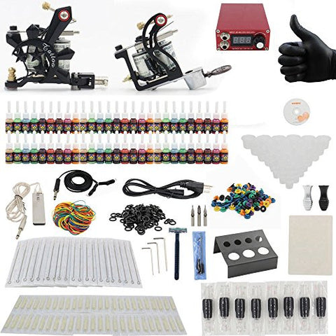 Yuelong Complete Tattoo Kit 2 Tattoo Machine Guns Power Supply Tattoo Ink Needles Tips Cups Assorted TK-3003