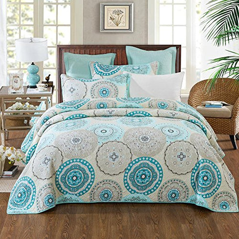 NEWLAKE 3 Pieces Quilt Bedspread Set, Blue Aqua Boho Medallion Pattern, Queen Size
