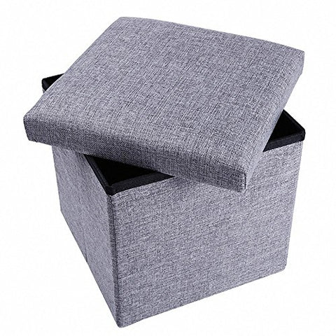 Storage Ottoman Fabric Linen Folding Stool,Collapsible 15  Cube ,Foot Rest Seat,Clutter Toys Collection Gray