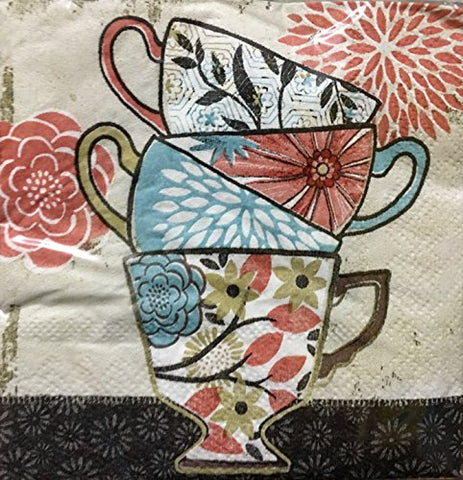 Set of 30 Cocktail Beverage 2-ply Paper Napkins ~ Floral Tea Cups