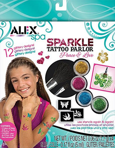 ALEX Spa Fun Sparkle Tattoo Parlor - Peace and Love