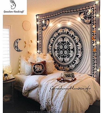 Black & White Elephant Mandala Hippie Tapestry Queen Indian Throw Beach College Dorm Bohemian Wall Hanging Boho Bedsheet adorable Bedspread Quilt Coverlet Blanket