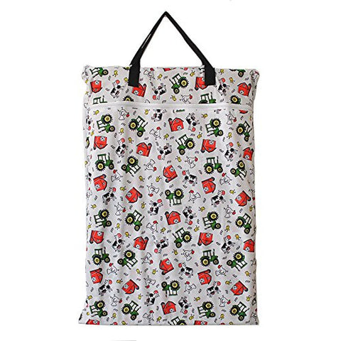 Large Hanging Wet/dry Cloth Diaper Pail Bag for Reusable Diapers or Laundry (Farm)