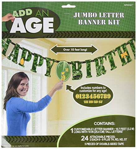 Amscan Adventurous Jumbo Add-An-Age Letter Banner (1 Piece), Camouflage Green, 2 1/4 X 3 1/4