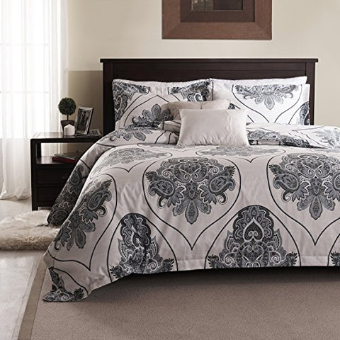 Simple&Opulence Polyester Palace Printing Grey Bedding Quilt Duvet Cover Set Including 1 Duvet Cover and 2 Pillow Cases (King, Grey)