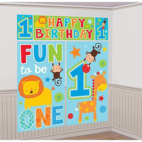 Amscan One Wild Boy 1st Birthday Scene Setters Wall Decorating Kit, 59 x 65, Blue/Green