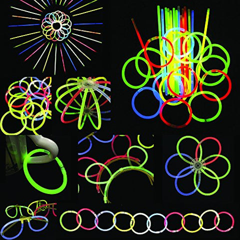 200 8 glow stick bracelets,mixed colors,200bracelet necklace connectors,5 pairs of glow glasses connectors,1 glow ball/flower kit,5 hair clip barrettes
