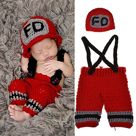 Yarra Modes Baby Photography Props Handmade Crochet Knit Fireman Caps Pants Photo Costume Prop (0-12 Month)
