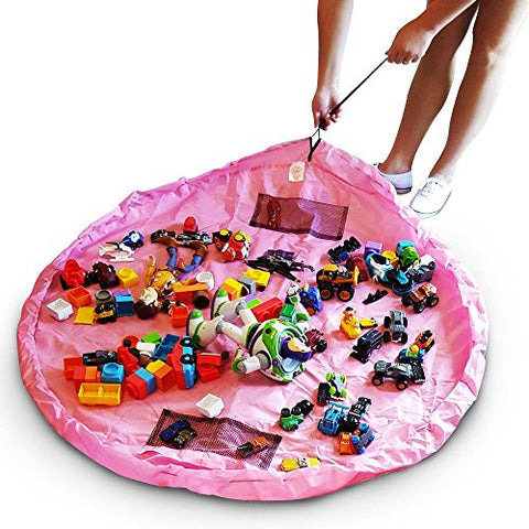 Pink Lego Storage/Deluxe 60 toy organizer and floor activity mat/Nylon PlayBag by OzzyKids-Makes toy storage and cleanup a breeze-Turns into a shoulder bag-BONUS GIFT