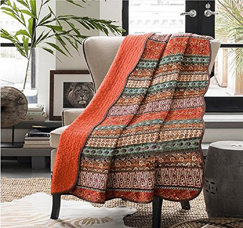 Stitching Reversible Floral Patchwork Quilted Throw Orange Jacquard