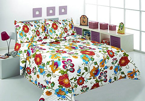 3 Pcs Printed Bedspread/ Coverlet Sets/ Quilt Sets, Full/ Queen & King Size Multi Color Chocolate Sage Modern Flower Design Over Size (Jn 12) (Queen)