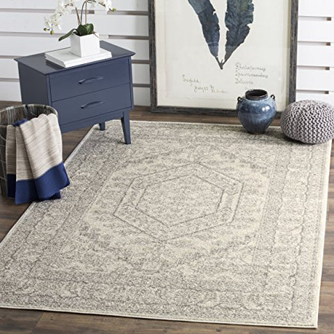 Safavieh Adirondack Collection ADR108B Ivory and Silver Oriental Vintage Area Rug (4' x 6')