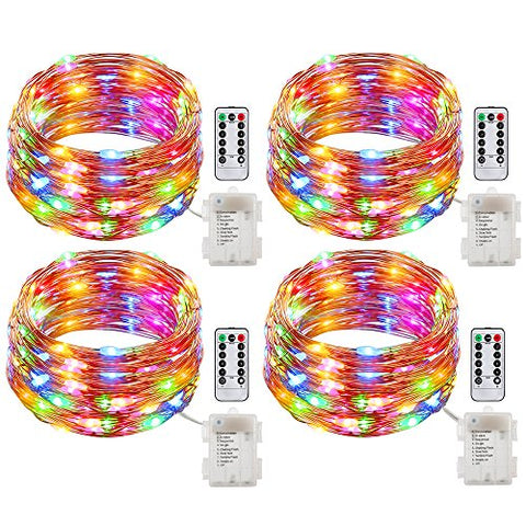 GDEALER Fairy Lights Battery Operated String Lights Waterproof 8 Modes 50 LED 16ft Fairy String Lights with Remote and Timer Firefly Lights for Wedding Party Dinner Festivals(Multi Color)