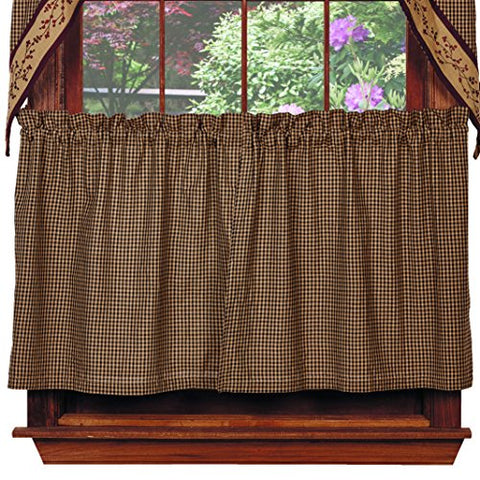 Black Check Berry Tiers, 72 x36 , Country Primitive Curtain