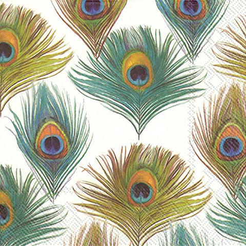 Ideal Home Range L013500 20 Count Peacock Chad Barrett Paper Luncheon Napkins, Multicolor