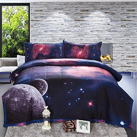 Galaxy Comforter 3D Printing Never Fade Quilt Outer Space Comforter Sets With 2 Matching Pillow Covers
