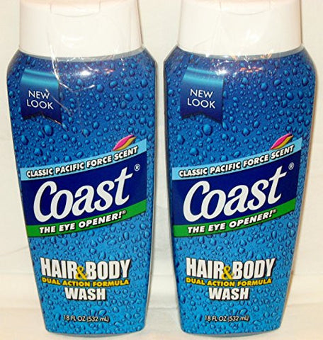 Coast Hair & Body Wash, Classic Pacific Force Scent, 2- 18 Fl Oz Squeeze Bottles