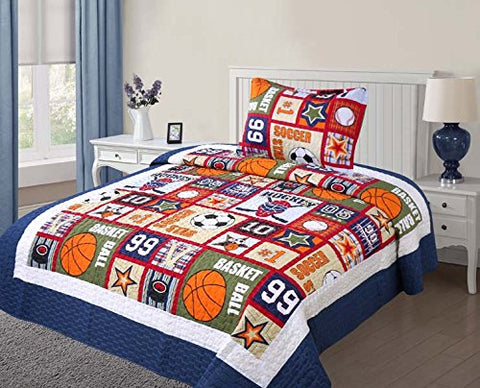 Golden Linens Twin Size 2 Pieces Quilt Bedspread Set Kids New Designs for Boys & Girls (Sport -05)