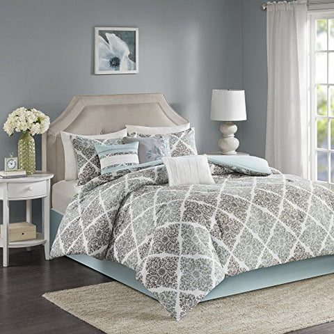 Home Essence  Vintage Vines 7-Piece Comforter Set- Grey, Aqua  Printed  Queen Size  includes comforter, bedskirt, shams and pillows