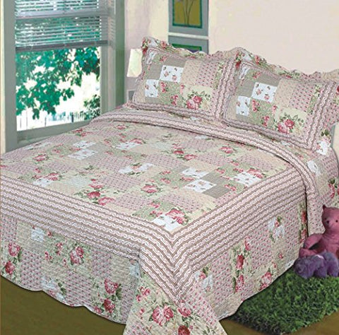 Fancy Collection 2pc Bedspread Bed Cover Pink Beige Green Flowers (Twin)
