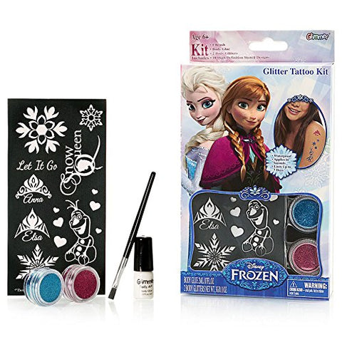 Disney Frozen Glitter Tattoo Kit with Stencils Brush Glue 2 Color Glitters