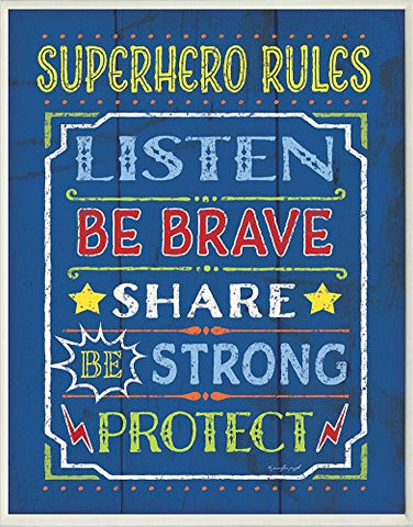 The Kids Room by Stupell Superhero Rules Listen on Blue Rectangle Wall Plaque