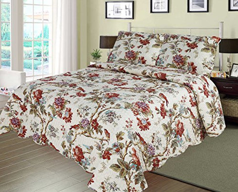 Patch Magic SQQFIOR Finch Orchard 3Piece Quilt Queen, Ochre