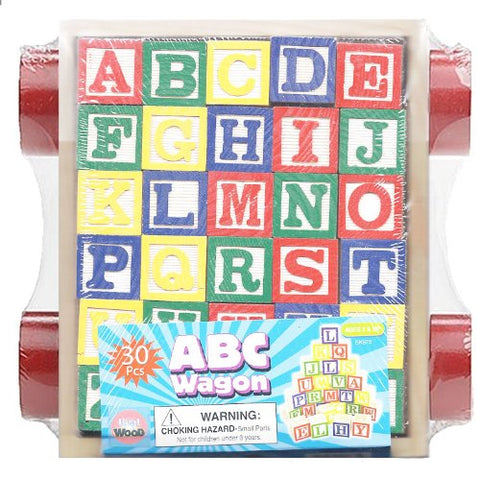 30 Piece ABC Stack N' Build Wagon Blocks with Learning Pictures Kids Toy