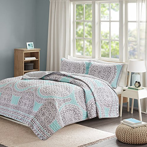 Comfort Spaces  Adele Mini Quilt Coverlet Set - 3 Piece  Blue, Aqua  Printed Medallions Pattern  Full/Queen size, includes 1 Quilt, 2 Shams