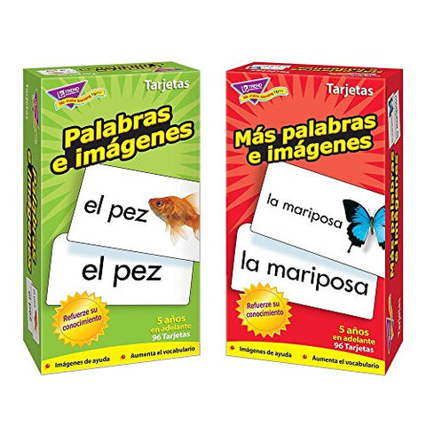 Spanish Flash Cards from Trend Enterprises, Picture Words & More Picture Words / Palabras e imágenes & Más palabras e imágenes -- Skill Drill Flash Cards -- Bundle of 2 Items by Trend Enterprises