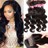 B&F Hair Brazilian Weave Virgin Hair Body Wave 4 Bundles with 1 Piece 44 3part Lace Closure 100% Unprocessed Human Hair Extensions Natural Colore (18 20 22 24+14)